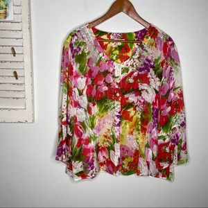Tianello Semi Sheer Floral Bell Sleeve Blouse M